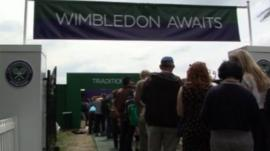 People queue to enter Wimbledon