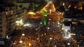 A general view of a protest against Egyptian President Mohamed Mursi