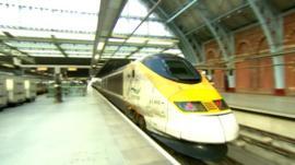 Train leaving London for Paris