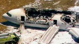 Wreckage of the Asiana Airlines flight