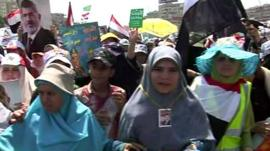 Women marching in Cairo in support of Mohammed Morsi