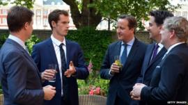 Andy Murray with Nick Clegg, David Cameron, Ed Miliband and Angus Robinson