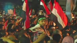 Pro-Morsi supporters in Cairo on Monday