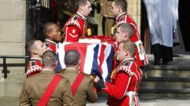 Fusilier Lee Rigby's coffin carried into church