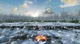 An artist's impression of Warren Field about 10,000 years ago showing burning material in one of the