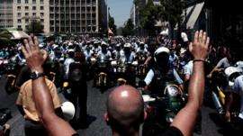 Athens Municipal police take to the streets on strike