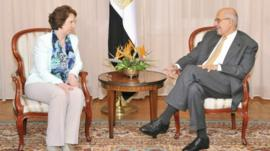 EU foreign policy chief Catherine Ashton and Egypt's Mohamed ElBaradei