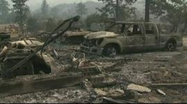 A car destroyed by the wildfire