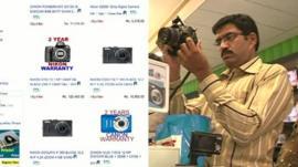 Online screenshot and man in shop