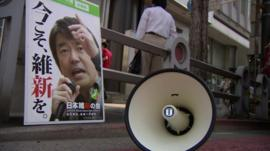 Election poster and loudspeaker in Tokyo
