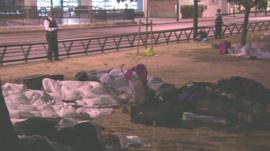 Roma gypsies sleeping rough