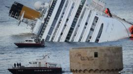 Costa Concordia submerged