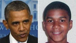 Composite image showing US President Barack Obama speaking at the White House on 19 July 2013, and undated family photo of Trayvon Martin