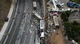 Aerial image from video shows a general view of the site of a train accident in Santiago de Compostela, Spain