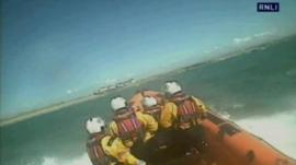 Trearddur Bay lifeboat taking part in a rescue