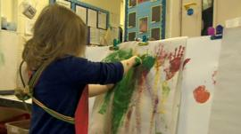 Child paints