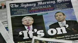 Kevin Rudd and Tony Abbott on the front of The Sydney Morning Herald