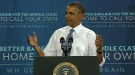 President Obama acknowledges the crowd