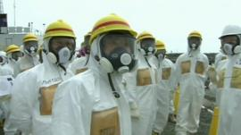 Clean-up workers at Fukushima