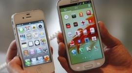 Samsung and Apple handsets
