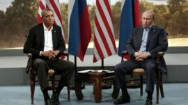 U.S. President Barack Obama (L) meets Russian President Vladimir Putin during the G8 Summit at Lough Erne in Enniskillen