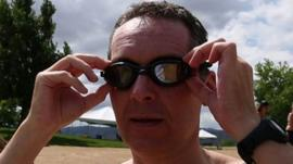 Gavin Maitland adjusts his goggles