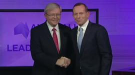 Prime Minister Kevin Rudd and opposition leader Tony Abbot