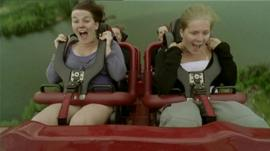 Girls on a rollercoaster