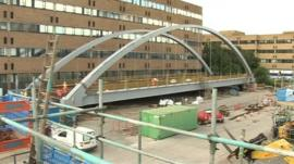 Tram bridge at the QMC
