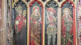 The panels at Holy Trinity Church in Torbryan, Devon