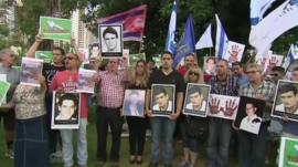 Israelis protesting at Palestinian prisoners release