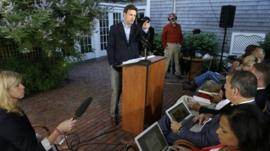 White House deputy press secretary Josh Earnest faces reporters during a news conference at a hotel