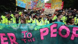 Fracking protesters and police
