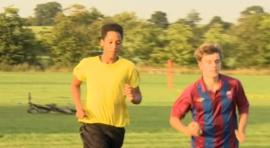 Quinton Barham (l) in training with teammates at Bradford Town Youth Football Club