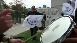Striking workers outside Alma