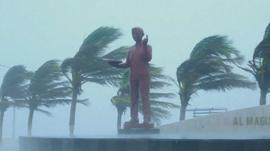 Statue and trees battered by wind and rain