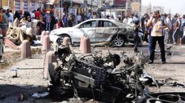 Car wreckage in Sadr City