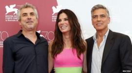 Alfonso Cuaron, Sandra Bullock, George Clooney