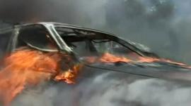 Car on fire in Tripoli, Lebanon