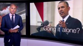 The BBC's defence correspondent Jonathan Beale explains the options open to President Obama following the UK's parliamentary vote against military action