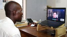 Ijimadji Nbarangar Serge speaks via Skype with Dr Neda Faregh
