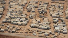 An aerial view shows the Zaatari refugee camp, near the Jordanian city of Mafraq July 18