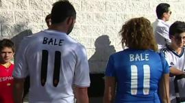 Real Madrid fans with Gareth Bale replica shirts