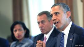 Barack Obama meets with members of Congress