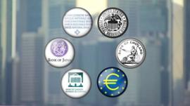 A graphic showing the economic emblems of six of the G20 member countries.