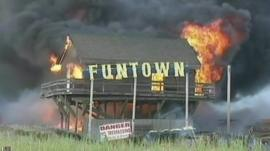 New Jersey shore boardwalk on fire