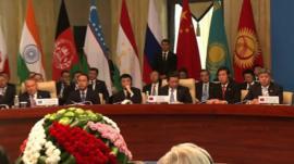 Delegates at the Shanghai Co-operation Organisation summit