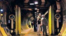 Visitors exploring the Channel Tunnel during one of the guided tour