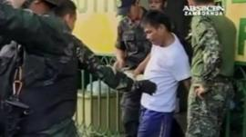 The army assisting a hostage to safety