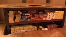 Some fake cigarettes were found hidden in an under-floor cabinet